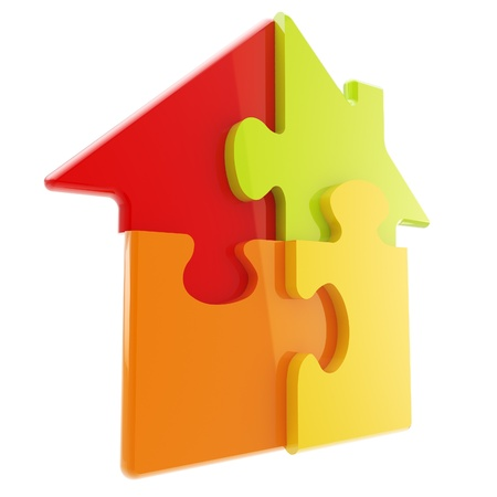 House icon made of puzzle pieces Stock Photo - 12448888