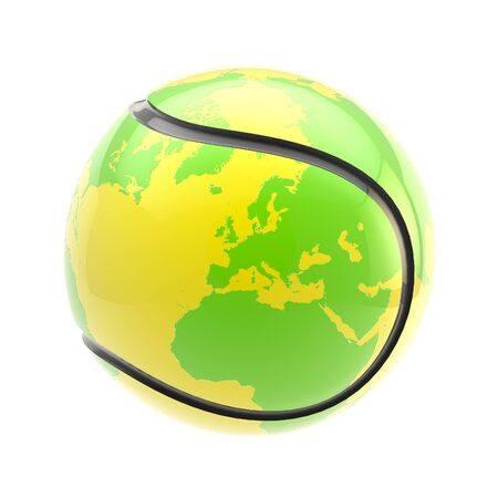 tenis: Tennis ball as an Earth planet sphere isolated Stock Photo