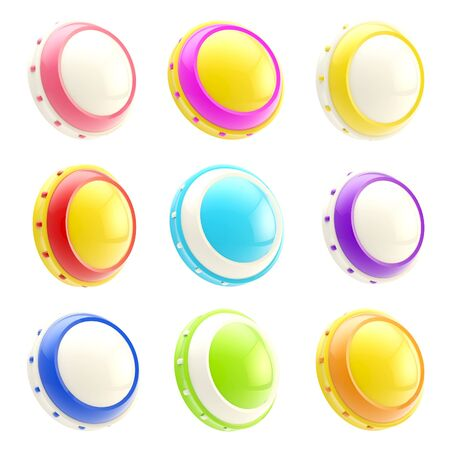 Set of colorful glossy button templates isolated Stock Photo - 13093455
