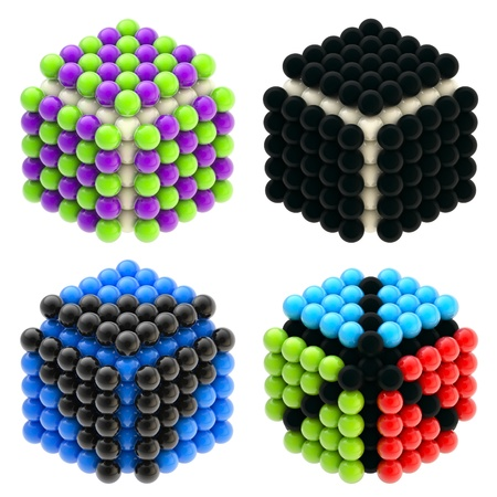 Abstract cubes built of glossy spheres isolated photo