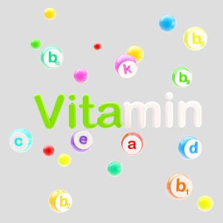 Vitamines word surrounded with pills and tablets photo