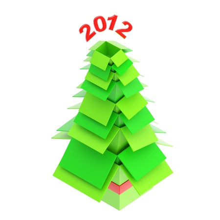 Christmas tree made of cardboard boxes Stock Photo - 13093668
