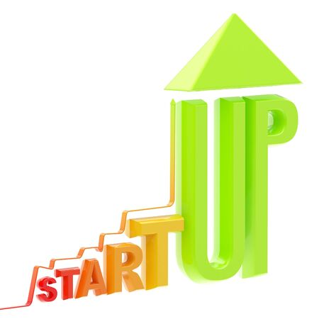 Startup word made as a growing stock graph Stock Photo - 13093729