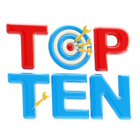 Top ten sign with dart target as an  o  photo