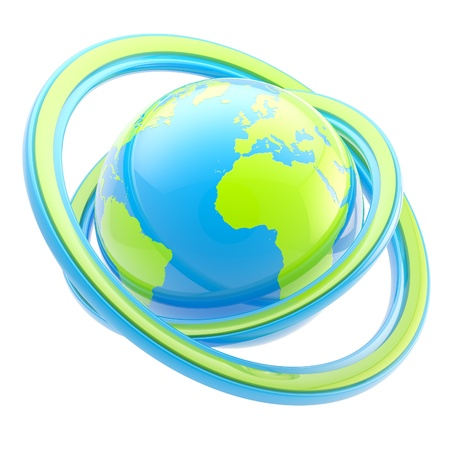 green logo: Travel and earth emblem  glossy planet sphere