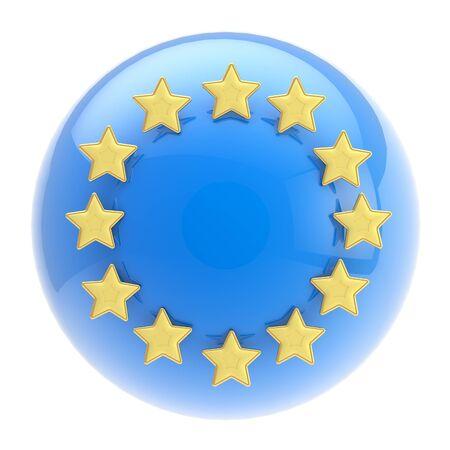 European Union symbol  sphere and golden stars photo
