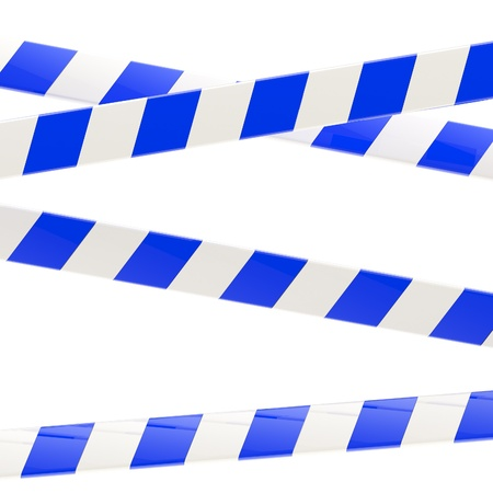 Set of blue and white glossy barrier tapes photo