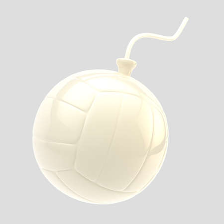 extreme close up: Glossy white volleyball ball as a bomb isolated