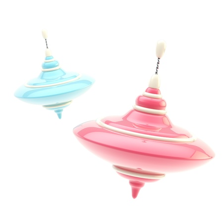 Two colorful pink and blue glossy whirligigs photo