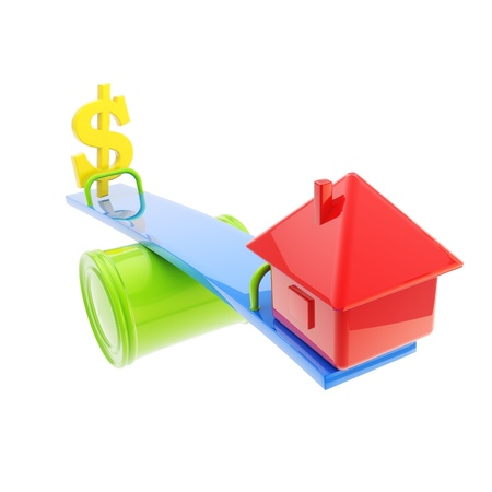 fluctuations: icon-like house and usa dollar sign on theseesaw