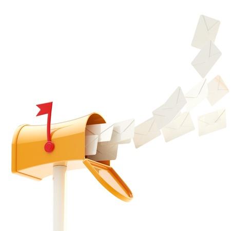 buzon de correos: Maibox y multitud de cartas que vuelan en �l Foto de archivo