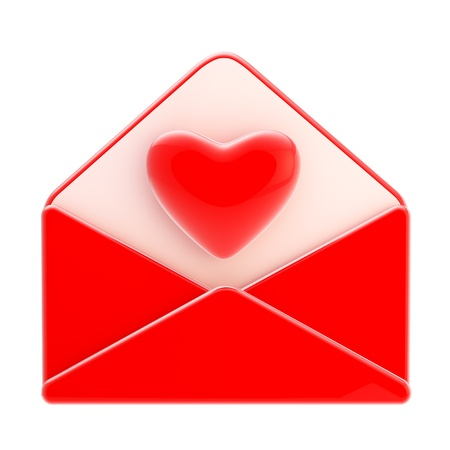 Love letter emblem as red envelope with heart photo