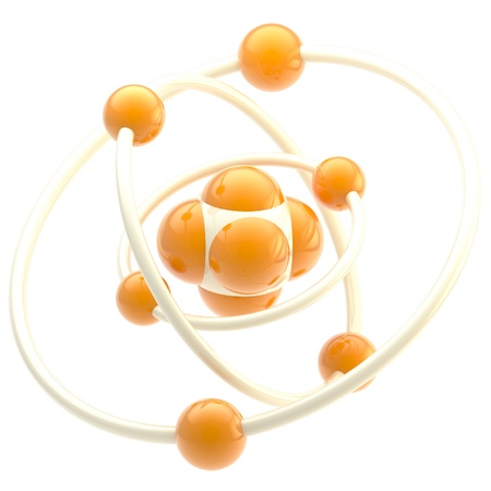 atomic structure: Nano technology emblem as atomic structure
