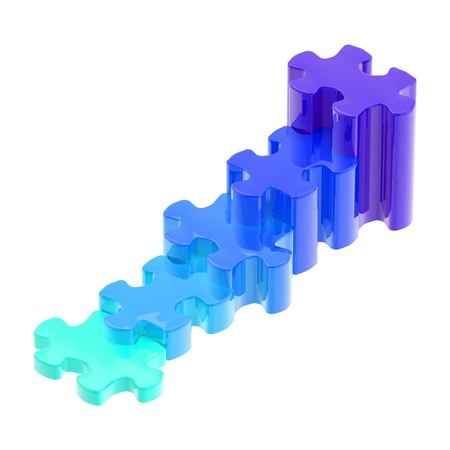 Blue puzzle pieces set as a staircase isolated Stock Photo - 13093778