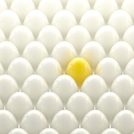 usual: Golden egg among usual white eggs