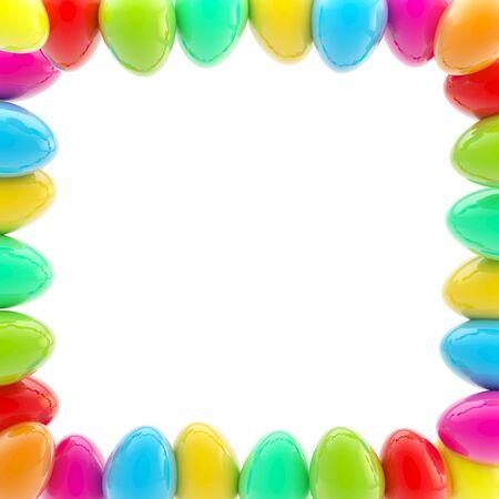 Glossy easter egg square colorful frame