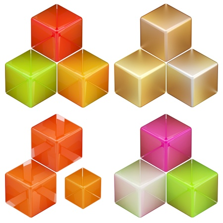 Set of four colorful glossy abstract cube compositions isolated on white photo