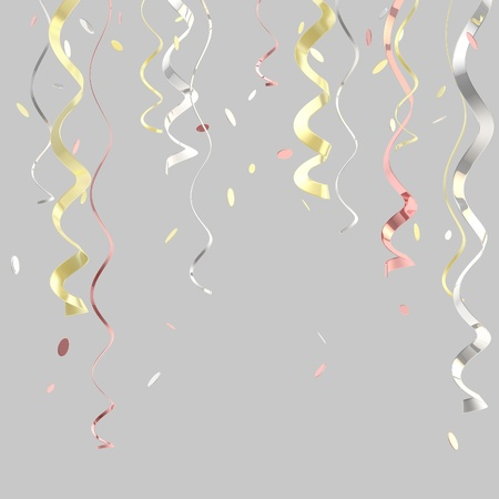 Ribbons and confetti background isolated photo