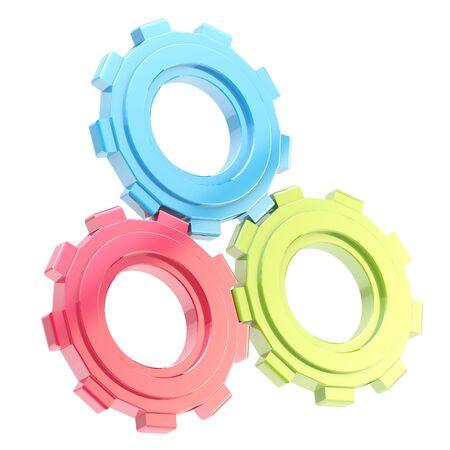 machined: Set of three linked cogwheels isolated
