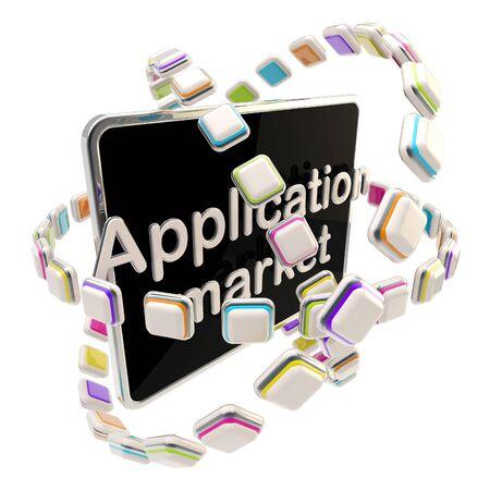 Application market emblem icon as a pad photo