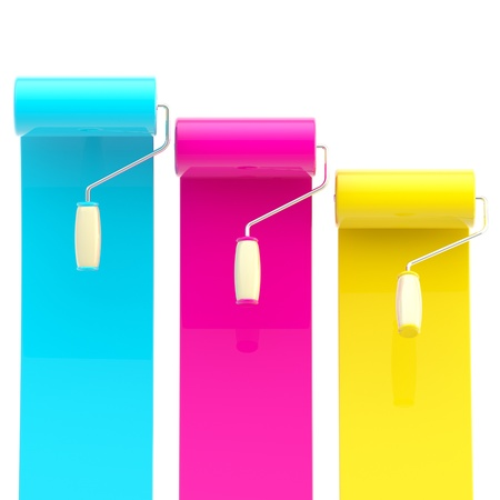 Colorful glossy paint rollers with color strokes Stock Photo - 13093543