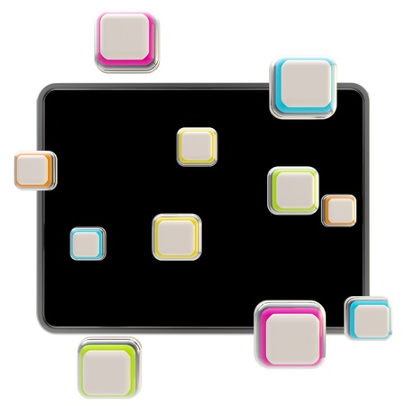 Application icons surround pad flat srceen photo