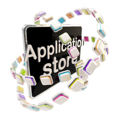 store display: Application store emblem icon as a pad Stock Photo