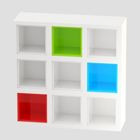 White glossy bookshelves, colored cells isolated photo