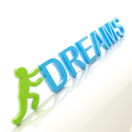 uphill: Human figure pushing the word  dreams  uphill