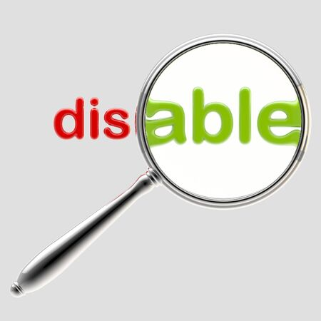 disabled sign: Word  disable  under magnifier emblem isolated