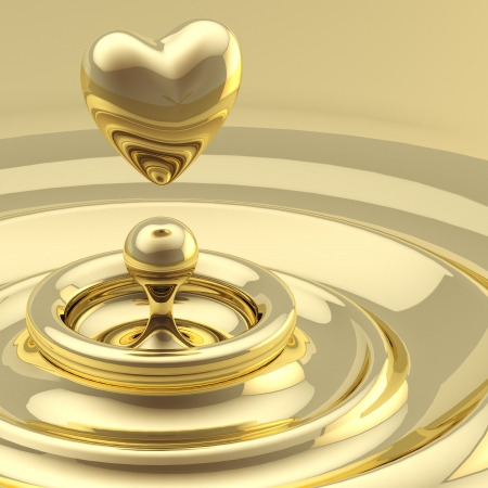 liquid gold: Abstract background waves with a heart drop Stock Photo