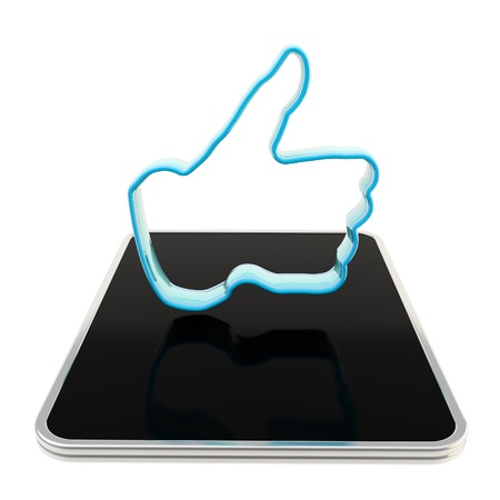 Mobile pad computer with like button Stock Photo - 13093144