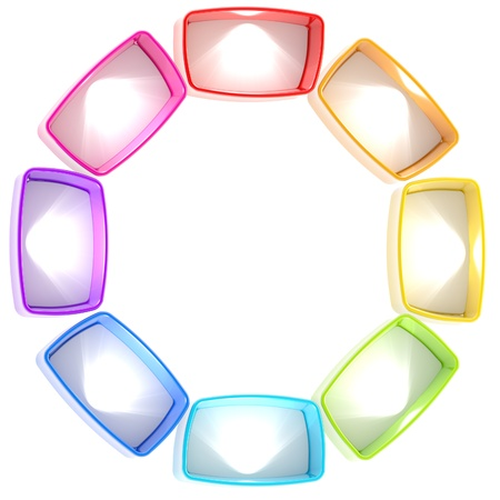 show window: Colorful shelf light rainbow colored boxes arranged in a circle isolated on white