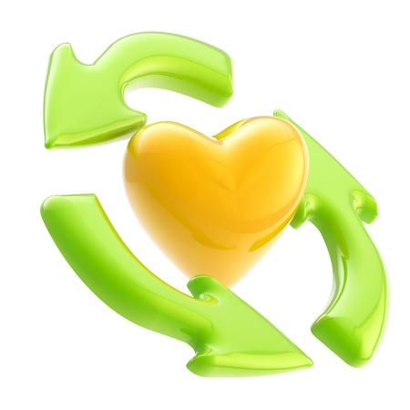 Ecology friendly  recycle arrows and heart symbol photo