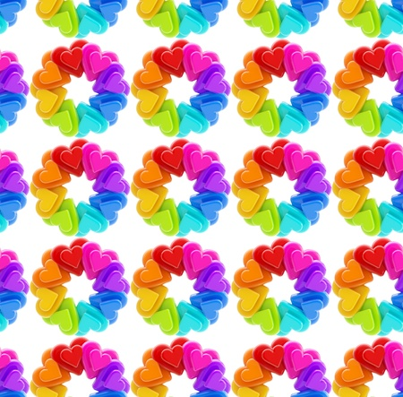 Seamless abstract background made of rainbow colored heart shapes Stock Photo - 13092881