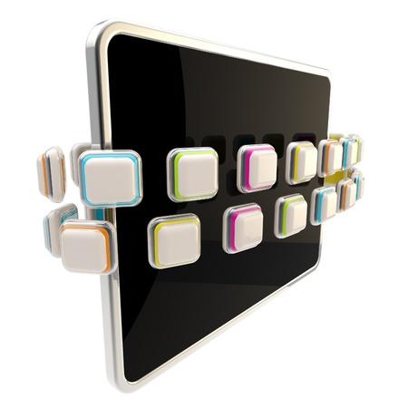 Orbit of application icons around pad screen photo
