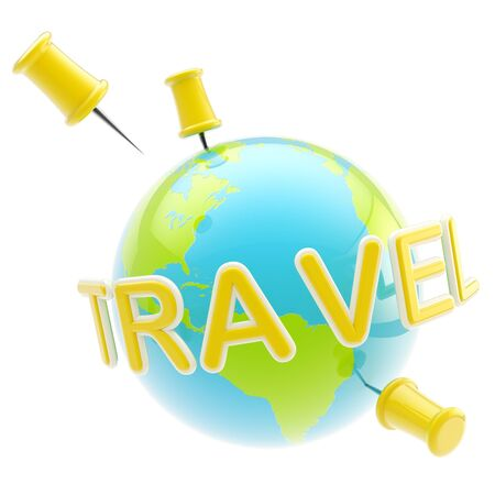 Glossy planet traveling sign isolated photo