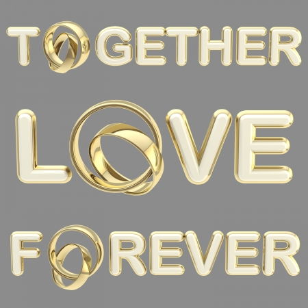 Love ,  together ,  forever  words isolated photo