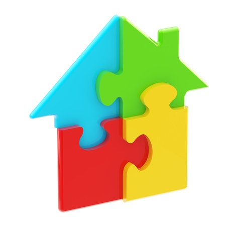 House icon made of puzzle pieces Stock Photo - 13093184