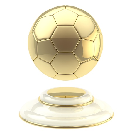 football trophy: Golden soccer ball champion goblet Stock Photo