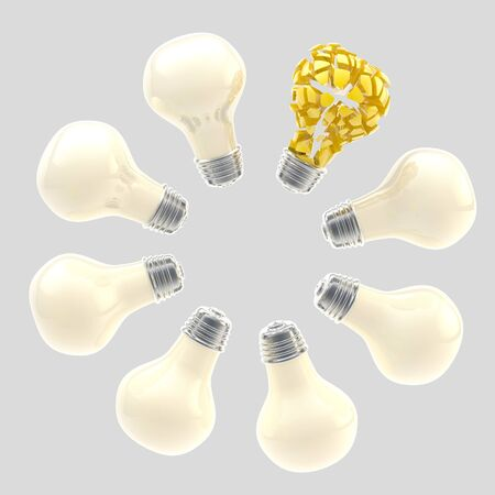 Yellow broken light bulb surrounded by white ones photo