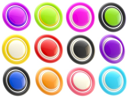 Set of colorful glossy button templates isolated Stock Photo - 13145208