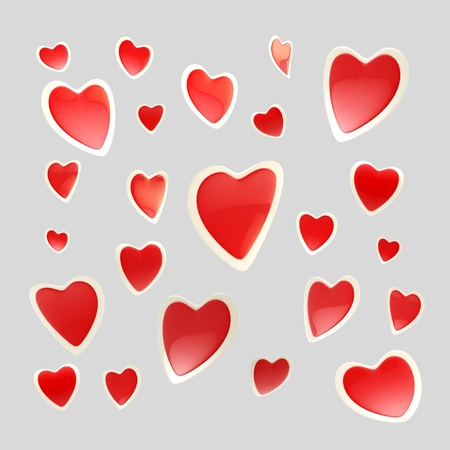 Backdrop made of glossy hearts isolated Stock Photo - 13145412