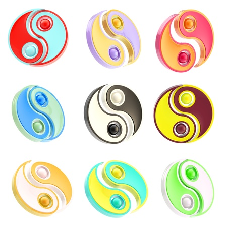 yinyang: Set of nine Yin-Yang signs isolated on white