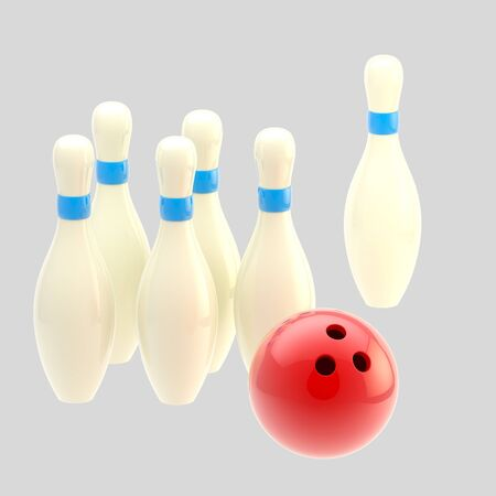 Bowling ball with pins isolated photo