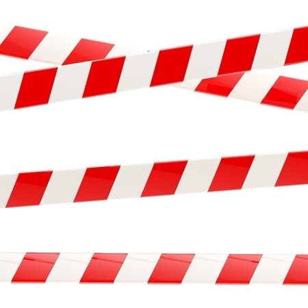 Set of red and white glossy barrier tapes photo