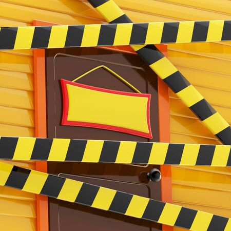enclosed: House enclosed with a barrier tapes