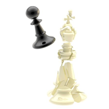 overthrow: collision of two black and white chess figures Stock Photo