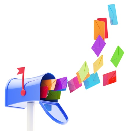 e mailing: Maibox and flock of coloured letters flying into