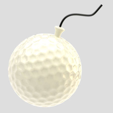 extreme close up: Glossy golf ball as a bomb isolated